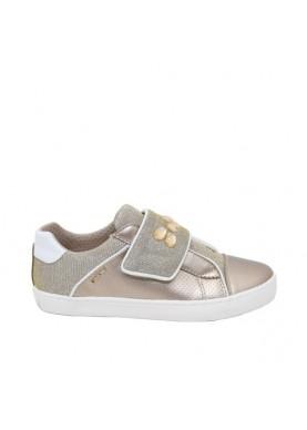 scarpa strappo geox bambina oro con pietre