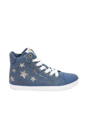 sneaker tessuto jeans con stelle geox bambina