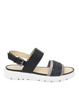 sandalo basso donna fascia glitter nero geox