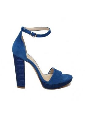 sandalo tacco in tessuto laserato color blu elettrico milla