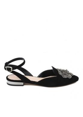 Sandalo basso punta con laccio alla caviglia