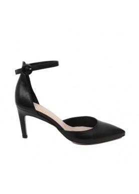 Sandalo punta nero donna con laccio alla caviglia Silkò