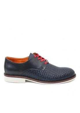 scarpa elegante uomo in pelle intrecciata blu ambitious
