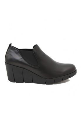 D4507-10 scarpa elastico zeppa donna in pelle nera Flexx