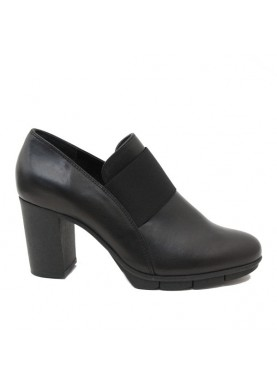D7013-13 scarpa tacco donna con elastico in pelle nera Flexx