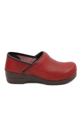 zoccolo donna in pelle rosso glove