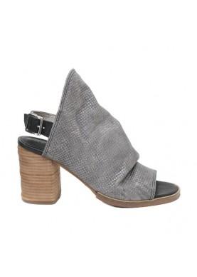 sandalo donna fascia in pelle color grigio metal tacco dei colli