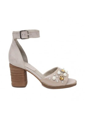 sandalo tacco donna in pelle beige con perle dei colli