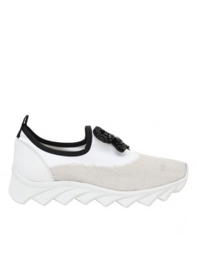 slip on donna in tessuto con accessorio dei colli