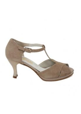 112 scarpa da ballo in camoscio beige esmeralda