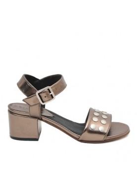 sandalo in pelle bronzo tacco basso dei colli