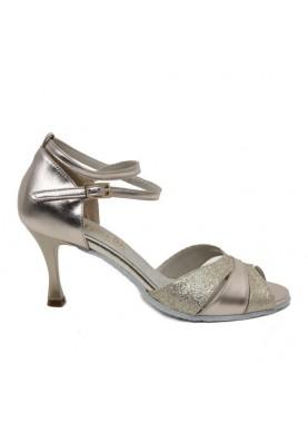 123 scarpe da ballo esmeralda pelle e glitter oro fondo camoscio