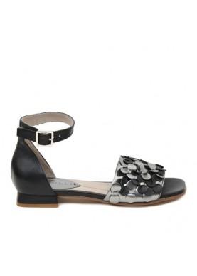 sandalo basso donna nero grigio metal con fiori dei colli
