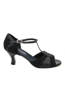 140 scarpe da ballo esmeralda camoscio nero e glitter fondo cuoio