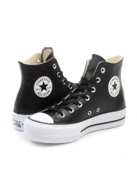 bf5c467f906e Sneaker platform alta donna 561675C by Converse in pelle nera.
