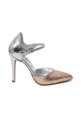 Sandalo tacco cerimonia punta chiusa argento bronzo Divine Follie