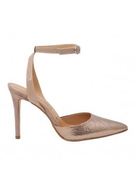 sandalo punta donna cipria metallizzato