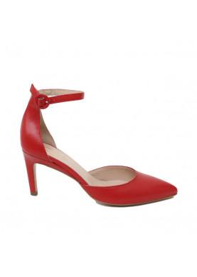 Sandalo punta rosso donna con laccio alla caviglia Silkò