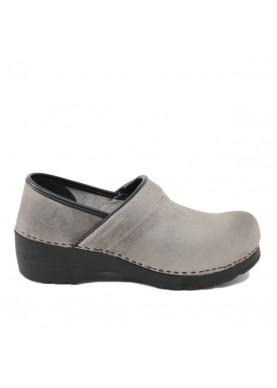 7488 zoccolo donna in pelle grigio glove