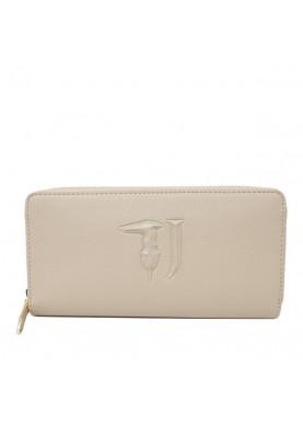 75W001 portafoglio donna cerniera Trussardi Jeans beige