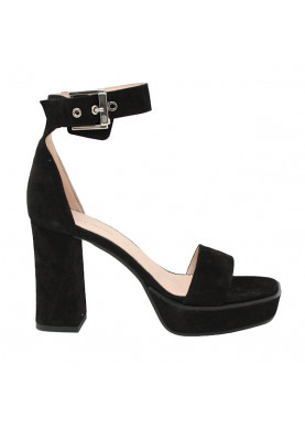 sandalo tacco donna camoscio nero carmens