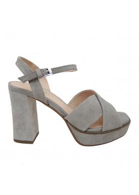 sandalo tacco donna camoscio grigio carmens