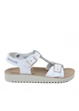 sandalo bambina bianco argento grunland