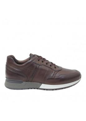 1190U scarpa sportiva uomo in pelle marrone NeroGiardini