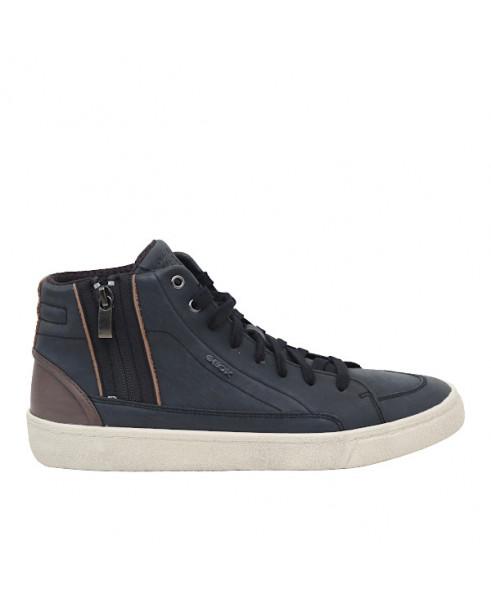Sneaker alta uomo U946HG in pelle neromarrone by Geox.